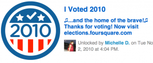 Foursquare #ivoted Badge