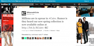 Kenneth Cole's Tweet In Bad Taste