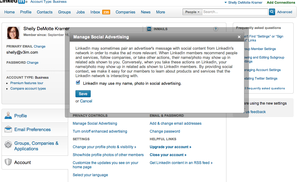 LinkedIn Privacy Setting Problem: Social Sharing