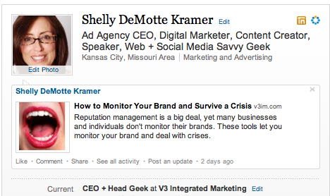 Shelly DeMotte Kramer's LinkedIn Profile