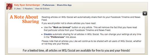 WSJ Social Facebook app