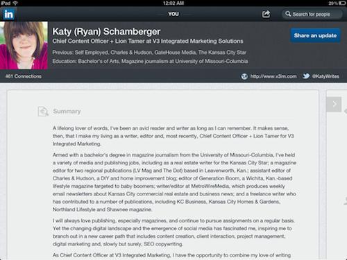 LinkedIn iPad app profile