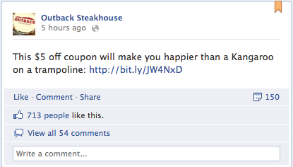 Facebook coupons