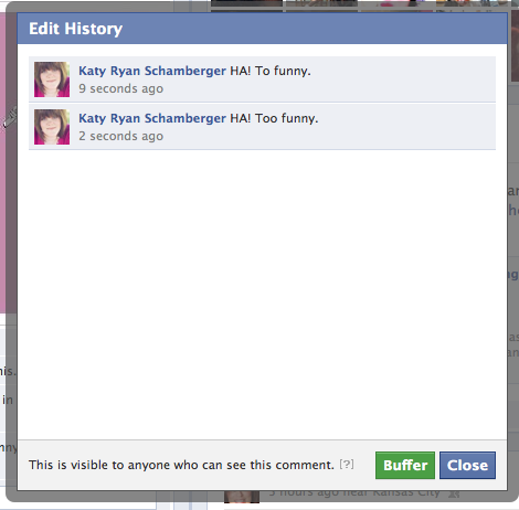 Facebook comment edit history feature
