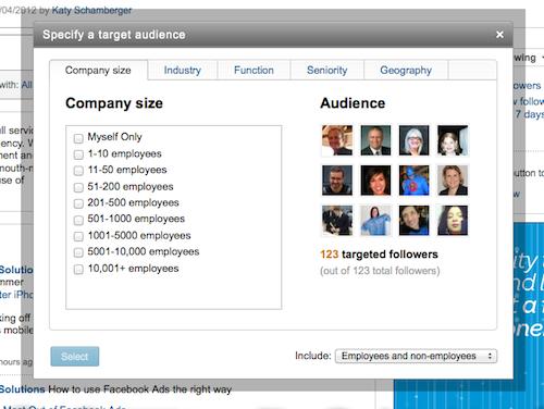 How LinkedIn targeted status updates work