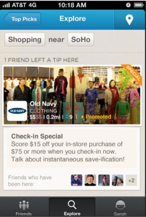 foursquare promoted updates