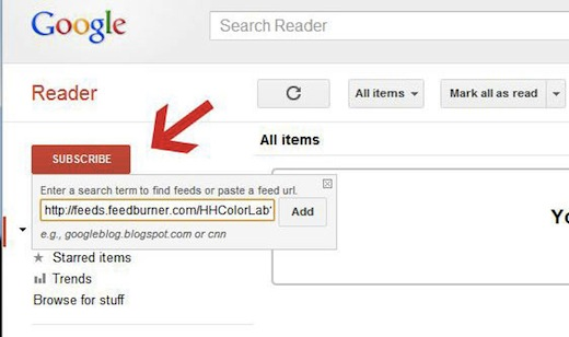 adding google reader feed