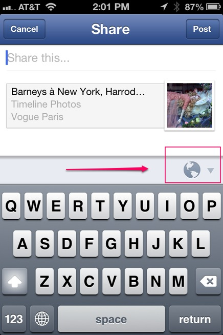 how to share content in facebook mobile app