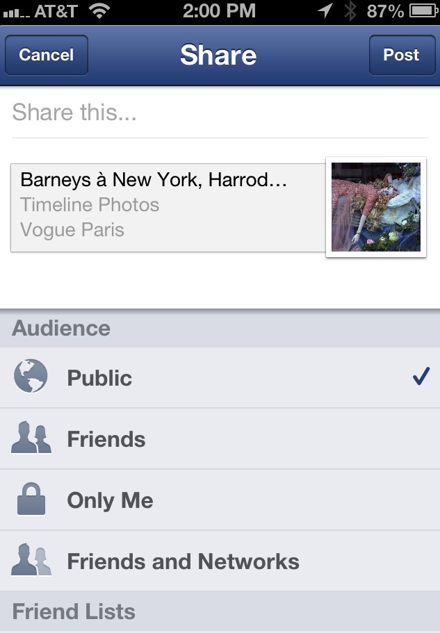facebook mobile share