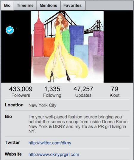 dkny twitter profile
