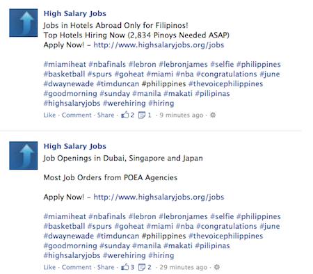 spam facebook hashtags