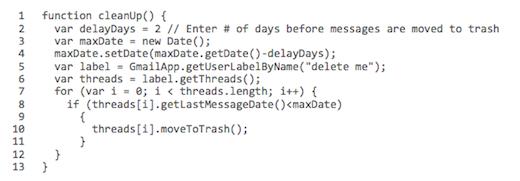 google apps clean up script