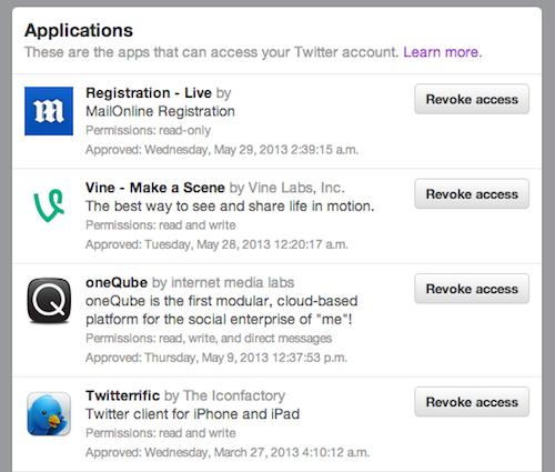 revoke twitter app access